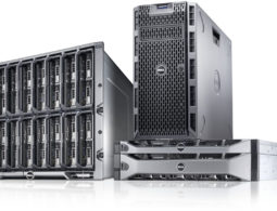 PowerEdge 12G server family, featuring a PowerEdge T320 tower server, PowerEdge R320 and R520 rack servers, and M320 blade servers in a PowerEdge M1000e enclosure.
